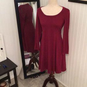 Maroon round neck dress